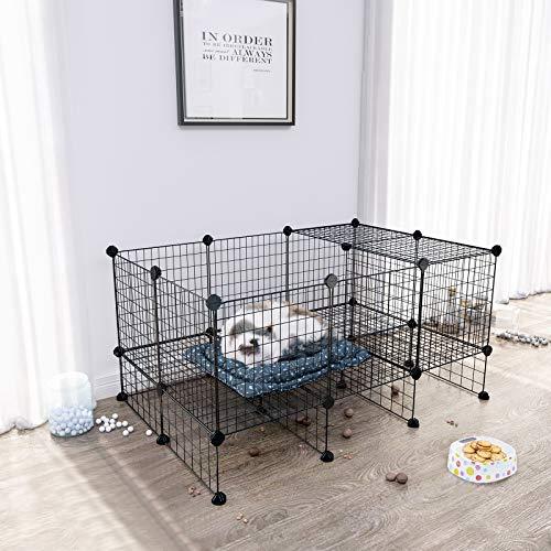 SONGMICS 20 + 12 Metallgitter Haustier-Laufstall mit Bodenplatten, Freigehege, individuell erweiterbarer DIY-Tierlaufgitter, für Welpen, Kaninchen, Meerschweinchen, inkl. Gummihammer, für Inneneinsatz, LPI03H - 2