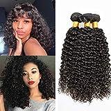 Brazilian Curly Hair Weave Human Hair 3 Bundles (16 18 20) 100% Virgin Jerry Curl Human Hair Unprocessed Hair Natural Black Color (16 18 20)