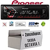 Autoradio Radio Pioneer MVH-S100UI - | MP3 | USB | Android | iPhone Einbauzubehör - Einbauset für Skoda Octavia 1 1U - JUST SOUND best choice for caraudio