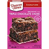 One 18 oz box of Duncan Hines Signature Triple Chocolate Chunk Brownie Mix Triple chocolate brownies include chocolate chunks and chips Enjoy an indulgent chocolate dessert or birthday brownies Makes an 8 by 8 or 9 by 9 inch pan of chocolate chunk br...