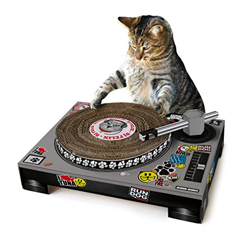 SUCK UK - CAT TOYS | PET CARDBOARD TURNTABLE & DJ MIXER |