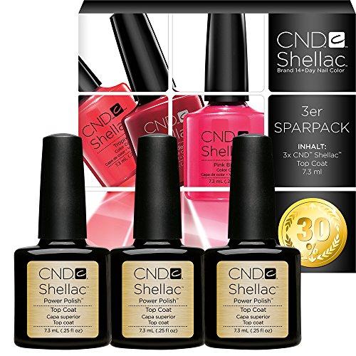 CND SHELLAC Vernis à ongles UV Top Coat 7,3 ml Pack de 3 à 30 % OFF, 22 ml