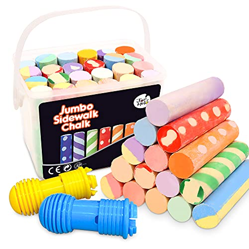 Jar Melo Jumbo Sidewalk Chalk Sets for Kids; 24 Colors, Sidewalk Chalk...