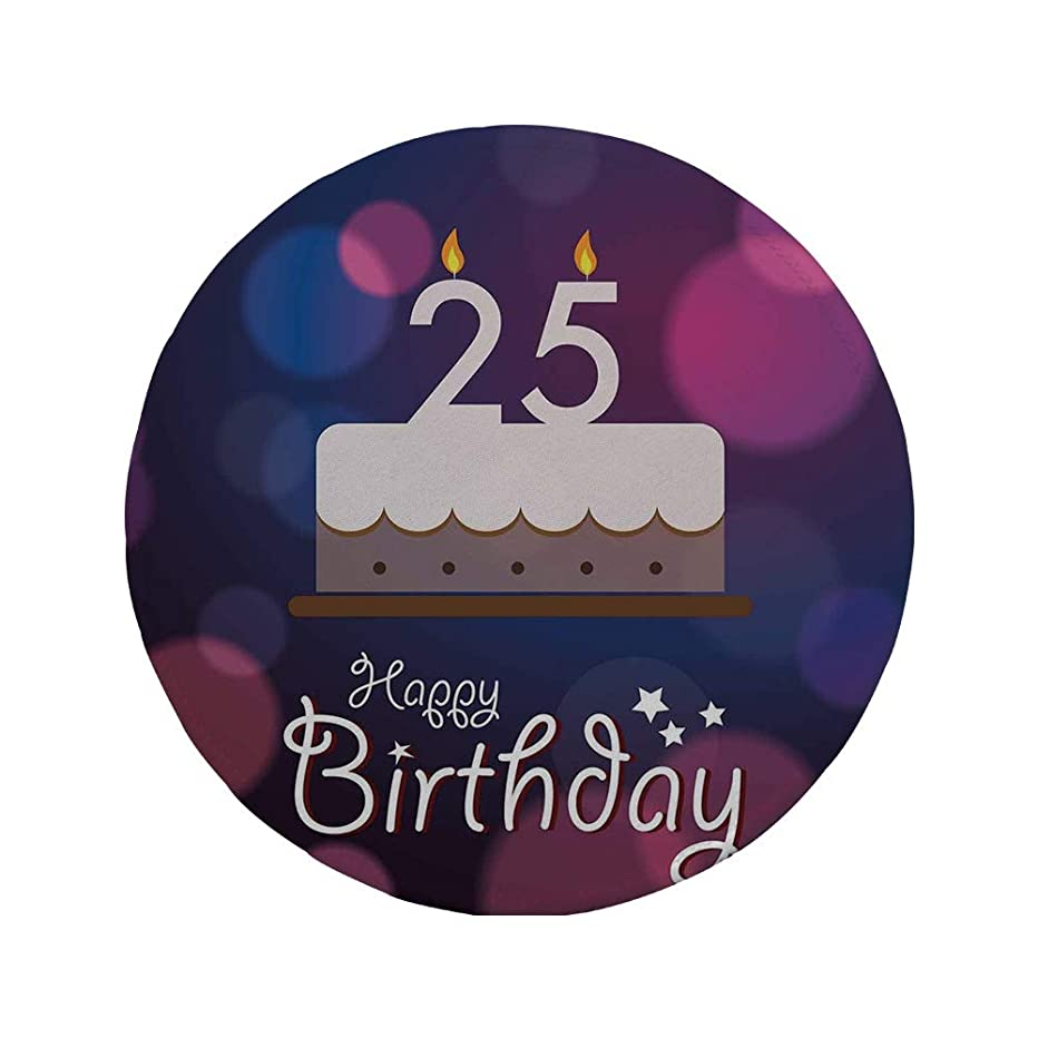 Non-Slip Rubber Round Mouse Pad,25th Birthday Decorations,Out of Focus Background with Cute Graphic Cake and Candles,Blue Pink White,11.8