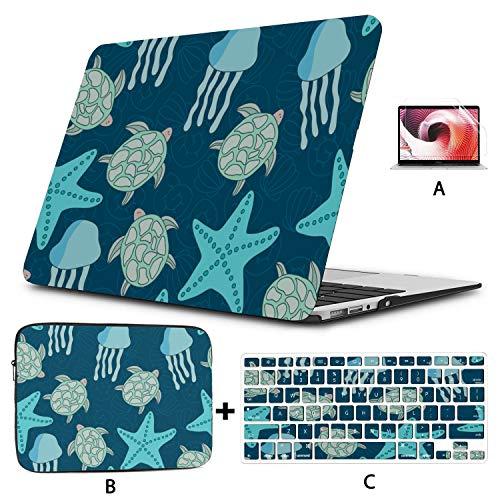 MacBook Air Laptop Case Ocean Jellyfish Sea Star MacBook Pro Laptop Case Hard Shell Mac Air 11'/13' Pro 13'/15'/16' with Notebook Sleeve Bag for MacBook 2008-2020 Version