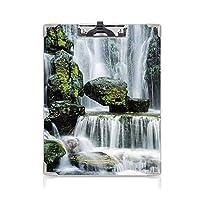 印刷者 クリップボード 用箋挟 クロス貼 A4 短辺とじ 滝の装飾 ファイルボード (2パック)それらにコケが付いている巨大な岩でブロックされた雄大な滝緑黒と白