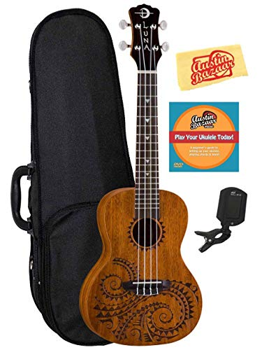 Luna Tattoo Mahogany Concert Ukulele Bundle with Gig Bag, Tuner, Austin Bazaar Instructional DVD, and Polishing Cloth