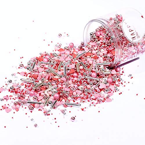 Happy Sprinkles Be Mine | Zuckerstreusel Mix bunt | Zum Backen und Verzieren von Torten Kuchen Plätzchen Cupcakes Eis | Herzen & silber Perlen | Zuckerdekor rosa weiß rot