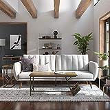 Novogratz Brittany Sofa Futon, Premium Linen Upholstery and Wooden...