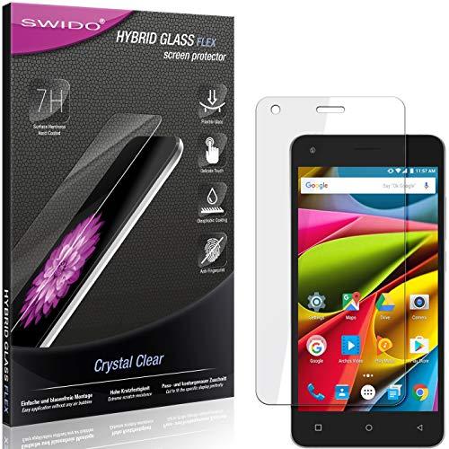 SWIDO Panzerglas Schutzfolie kompatibel mit Archos 50b Cobalt Lite Bildschirmschutz-Folie & Glas = biegsames HYBRIDGLAS, splitterfrei, Anti-Fingerprint KLAR - HD-Clear