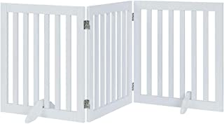 """Unipaws Freestanding Pet Gate, Folding Wooden Dog Gate, Indoor Barrier with 2PCS Support Feet (24"""" high, 3 Panels, White)"""