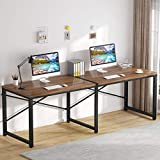 Tribesigns Two Person Desk, 79 inch Double Computer Desk, Simple Office Workstation Study Writing Desk for Home Office, Dark Walnut