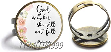 Yao0dianxku Psalm 46:5 Finger Ring Scripture Jewelry God is Within Her she Will not Fail Encouragement Bible Quote Finger Ring,Christian Gift Faith Hope Comfort.Y092