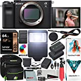 Sony a7C Mirrorless Full Frame Camera Alpha 7C Interchangeable Lens Body Only Black ILCE7C/B Bundle with Deco Gear Case + Extra Battery + Flash + Filters + 64GB Card + Software Kit and Accessories
