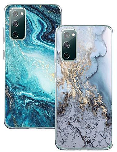 Galaxy S20 FE Handyhülle Für Samsung Galaxy S20 FE 5G/4G Silikon Hülle Marmor Muster TPU Stoßfest Bumper Tasche Rugged Hülle Samsung S20 Fan Edition/S20 Lite Schutzhülle 2PCS