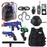 deAO Disfraz de Policía SWAT Juego Infantil de Imitación Conjunto de Uniforme Policial Incluye Casco...