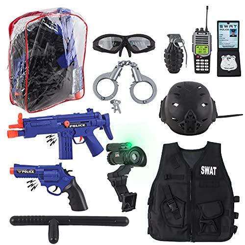 deAO Disfraz de Policía Juego Infantil de Imitación Conjunto de Uniforme Policial Incluye Casco, Chaleco, Armas de Fuego, Placa más Accesorios y Mochila para Almacenaje