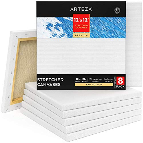 """Arteza 12x12"""" Premium Stretched Canvas, Bulk Pack of 8, Primed, 100% Cotton for Painting, Acrylic Pouring, Oil Paint & Wet Art Media, Canvases for Artist, Hobby Painters & Beginner"""