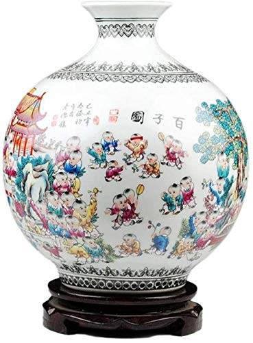Jarrones cerámica Hecha a Mano Manualidades con Base giratoria centenar de niños Hotel Tea Room Accesorios (28 * 24cm) Florero