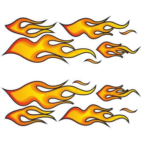 "Racing Aufkleber \""Fire Flames BIG\"" Feuer Flammen Sticker Set - 12 riesige Aufkleber in XXL Größe"