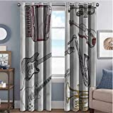 Annery Music 85%-95% Blackout Lining Curtain Instruments Accordion Sax Full Shading Treatment Kitchen Insulation Curtain W72 x L96 Inch