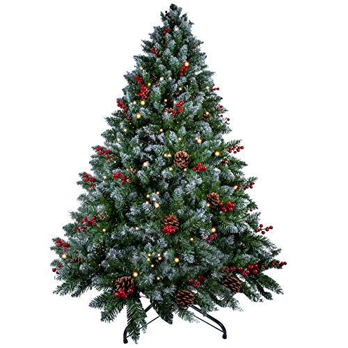 Albero di Natale da 7ft / 2.1 m, Albero di Natale Artificiale innevato con Aghi di Pino Misti, Bacche Rosse e Base e Cerniere in Metallo Premium, per Decorazioni Natalizie per Interni ed Esterni