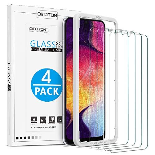 OMOTON 4 Stück Schutzfolie für Samsung Galaxy A50/ A30, mit Schablone, Anti- Kratzer, Bläschenfrei, 9H Härte, HD-Klar, 2.5D Runde Kante