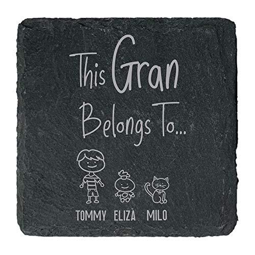 eBuyGB Personalised Square Slate Coaster, This Grandma Belongs to Coaster,...