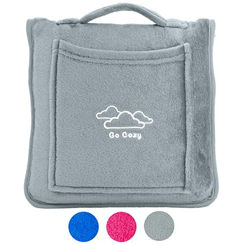Go Cozy Airplane Microfleece Travel Blanket Pillow - with Travelling Carry Case, 4-in-1 Design Doubles as Neck and Lumbar Support - for Car, Plane, Train and Home (Gray)