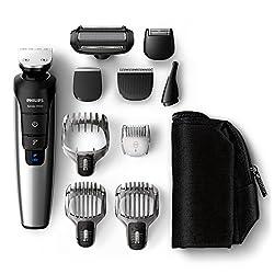 Philips QG3398/15 Multigroom-Set für Gesicht, Haare und Körper, 10 Aufsätze, schwarz/metall