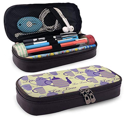 Gestreifte Teekannen Tassen Silhouetten Klassische PU-Leder-Bleistift-Etui mit Reißverschluss Schulmaterial für Studenten Geldbörse Kosmetische Make-up-Tasche