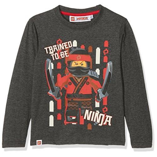 Lego Ninjago 161415 T-Shirt, Gris (Marengo Melange/Racing Red 19-1763 TCX), 4 Anni Bambina