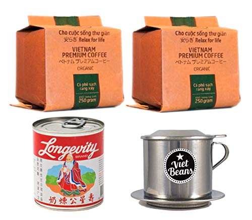 """Vietnamesisches Kaffee-Starterset """"Organic"""" – Gemahlener Röstkaffee 2x 250g + Filter + Milch - Hochwertiger Hochlandkaffee aus Dat Lat Vietnam"""