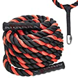 Battle Ropes with Anchor Kit and Nylon Protector Included - Fitness Undulation Rope Exercise - Cross Strength Training - Circuits Workout (1.5' x 50 ft)