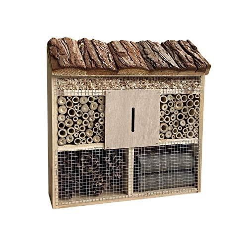 Insektenhotel hängend 305 x 95 x 310 mm, naturbelassene Nisthilfe für verschiedene Insekten