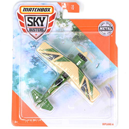 Matchbox Sky Busters Biplane-A, Green and Tan