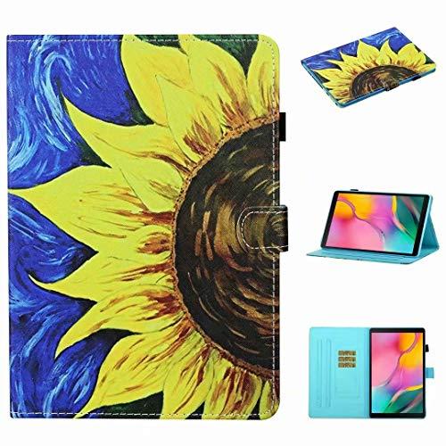 Funda para Samsung Galaxy Tab A 8.0 2019 SM-T290/T295/T297, de piel sintética, función de soporte, con ranura para tarjetas, funda protectora para tablet, girasol