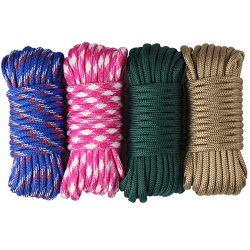 aufodara 4 Pieces 19ft / 6Meter Paracord Cords 550 Multifunction Paracord Rope Crafting Bracelet Braided Rope Lanyards Dog Collar DIY Crafting (D4-C)