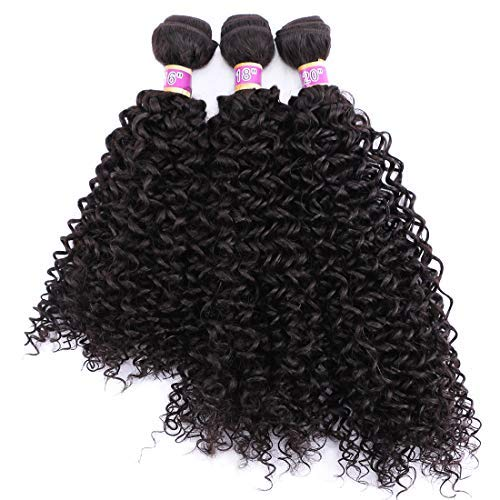 ANGIE Kinky Curly Hair Bundles 16 18 20 Inches 3 Pieces Pack Curly Synthetic Hair Weave Extensions (Updated Color 2#)