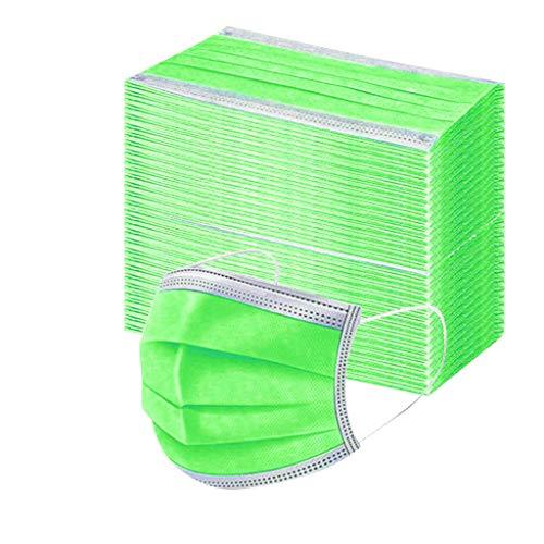 100 Pezzi adulto Protezione Il Viso monouso Antipolvere Visiera Bocca Faccia USA e Getta 3 Strati Filtro con Orecchini Elastici Adatto per Adulto (Verde fluorescente)