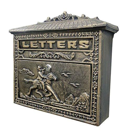 QLLL Briefkasten Antik, Abschließbarer Wetterfester Briefkasten, 36 X 9 X 32,8 cm, Aluminiumguss, Bronze, Grün