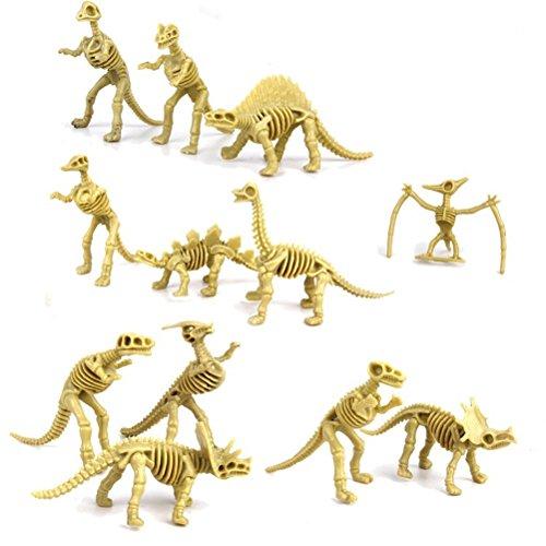 WINOMO Figurine Fossile de Dinosaure Squelette Jouets pour les Enfants Garçons Filles 12pcs (lumière d'Olive)