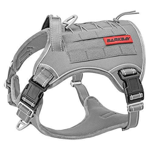 Tactical Dog Harness Large,Military Service Weighted Dog Vest Harness Working Dog MOLLE Vest with Loop Panels,No-Pull Training Harness with Leash Clips for Walking Hiking Hunting(Grey,L)