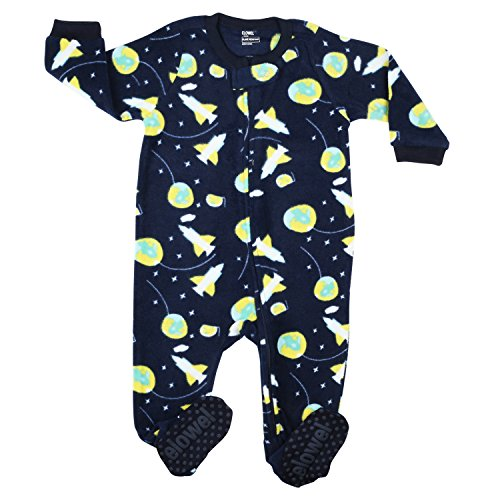 elowel | Pijama Ninos | Ropa De Dormir De Lana Caliente| 1 Pieza | Pijama De Pie | Cálido Y Tierno | 100% Poliéster | Tamaño: 2 Años (92) | Colro: Azul | Diseño: Cohete Espacial