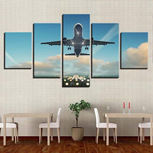 GHTAWXJ canvas vliegtuigschilderij muurkunst 5 stuks verkeer gereedschap afbeeldingen afdrukken vliegtuig poster achtergrond wooncultuur