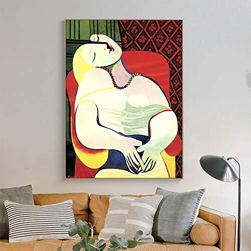 GJQFJBS Estilo nórdico Mujer soñadora de Picasso Pinturas abstractas en Lienzo Cuadros artísticos de Pared Carteles y para decoración de Sala de Estar (sin Marco) A2 60x80CM