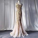 chushi Vestidos de Mujer Vestidos de Noche de Oro Sirena Un Hombro Vestido de Noche Barato Glitter Elegante Vestido de Fiesta Largo de Lentejuelas de Oro Vestido Formal de Tul Vestido de Novia Zzib