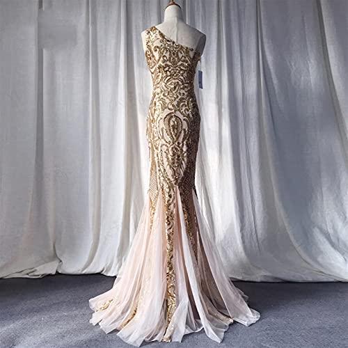 chushi Vestidos de Mujer Vestidos de Noche de Oro Sirena Un Hombro...