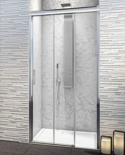 Mampara de Ducha Frontal - 3 Hojas Correderas - Cristal de Seguridad de 6 mm con ANTICAL INCLUIDO - Modelo PORTLAND