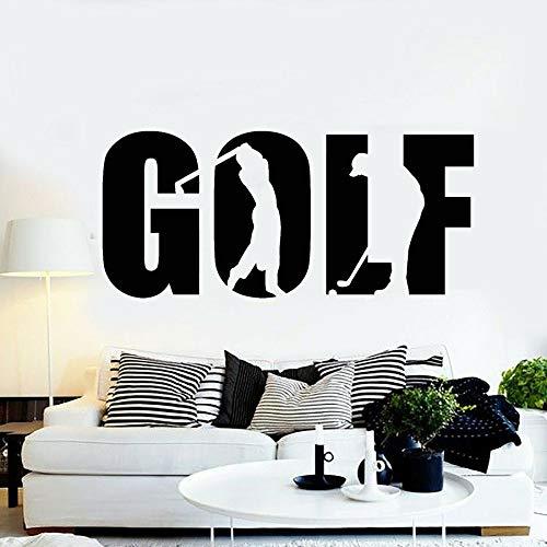 HFDHFH Golf Palabra Vinilo Etiqueta de la Pared Etiqueta de la Ventana Golfista Club Deportivo Juego de Golf decoración de Interiores Silueta Creativa Arte Mural